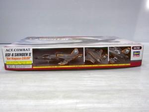 エースコンバット 震電 II プラモデルの外箱の側面。組立て後の様子や、商品名などが書かれている。
