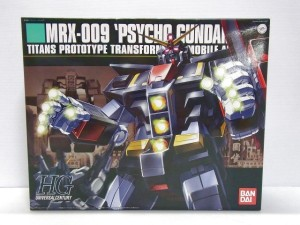 バンダイ 1/144 HGUC MRX-009 サイコガンダムの箱。キャラクターのイラストが描かれている。
