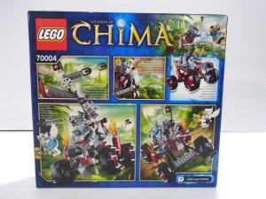 レゴ チーマ 70004の箱の裏面画像。可動部の説明などが書かれている。