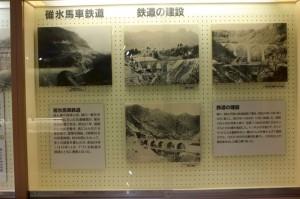 鉄道建設時の写真の画像。文字での説明や、写真がパネルに飾られている。