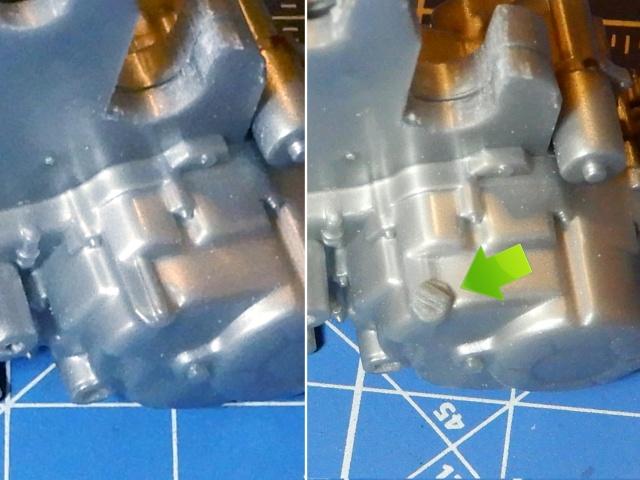 フジミ模型 1/12 NX1 ホンダ スーパーカブ110 (アーベインデニムブルーメタリック) オイル給油口部分 改修の様子