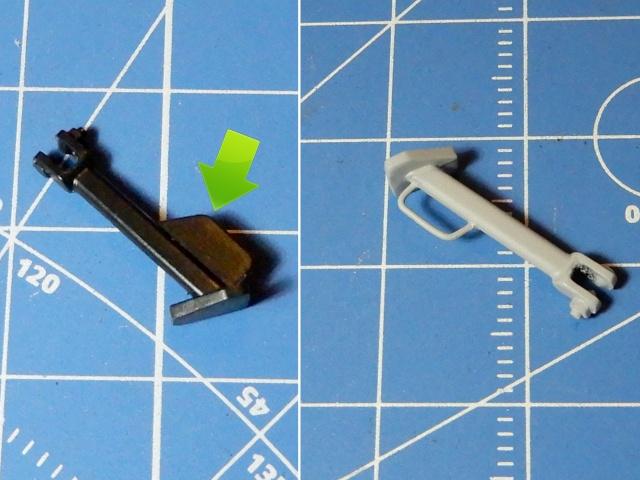 フジミ模型 1/12 NX1 ホンダ スーパーカブ110 (アーベインデニムブルーメタリック) スタンド部分 改修の様子