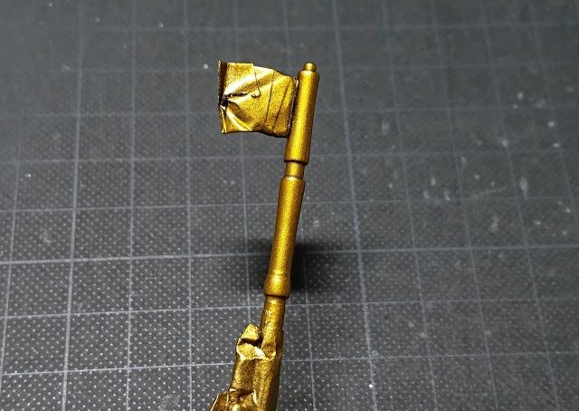 タミヤ モンキー125 アウターチューブへゴールドを再塗装後、クリアイエローで仕上げした様子