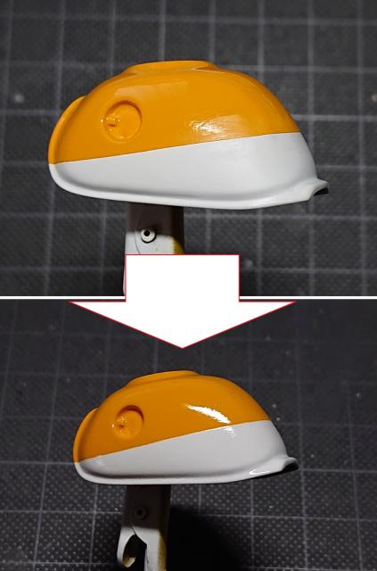 タミヤ モンキー125 タンクにクリアー塗装前と後の比較写真